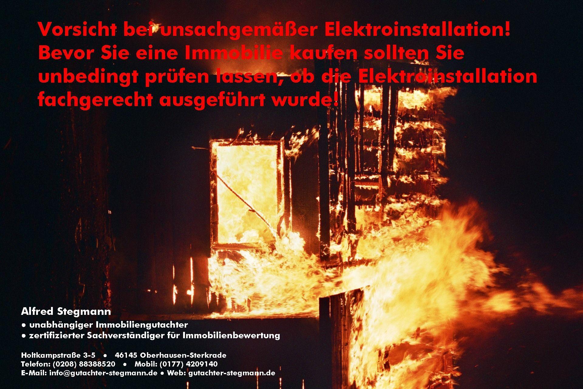 Vorsicht! Brandgefahr bei unsachgemäßer Elektroinstallation ...